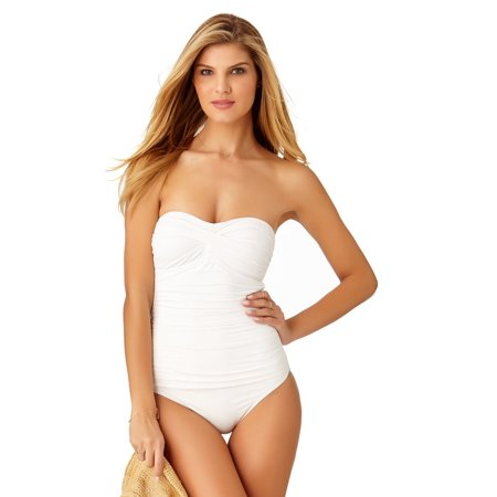 (Anne Cole Women's Live In Color Twist Front Shirred Bandeau One Piece Swimsuit)