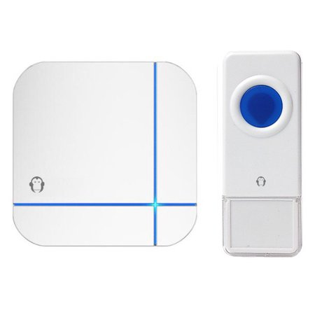 Wireless Waterproof Doorbell / Panic Button, B11 Series, 52 Chimes, White - 1,000 Ft
