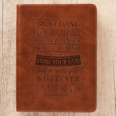 Journal Lux-Leather Be Strong & Courageous Josh - Leather Wine Journal