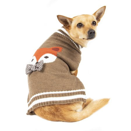 Simplydog Brown Fox Bowtie Sweater for Dogs, Medium