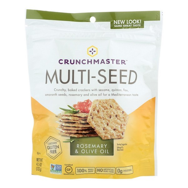 Crunchmaster Multi-seed Crackers - Rosemary And Olive Oil - pack of 12 - 4.5 Oz.