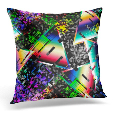 Gradient Design (ECCOT 1980 Glitch Design Cyberpunk Digital Gradient and Concepts Abstract Pillowcase Pillow Cover Cushion Case 20x20 inch)