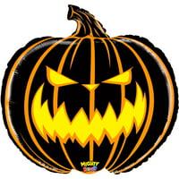 """Betallic Giant Scary Halloween Jack-O-Lantern 28"""" Foil Balloon, Black Orange"""