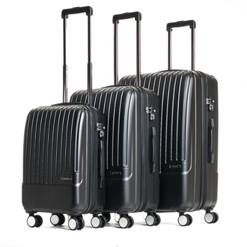 CalPak Davis Expandable 3-Piece Hardside Spinner Luggage Set Black