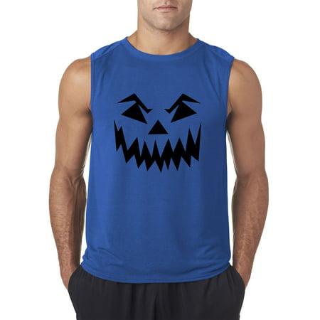 Trendy USA 972 - Men's Sleeveless Scary Halloween Pumpkin Face Jack O Lantern Small Royal Blue - Pumpkin Halloween Faces Scary