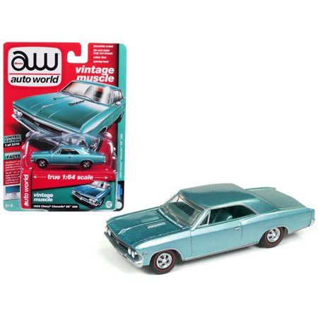 1966 Chevrolet Chevelle SS Artesian Turquoise Limited Edition to 2,016 pieces Worldwide 1/64 Diecast Model by Autoworld 1964 Chevrolet Chevelle Ss