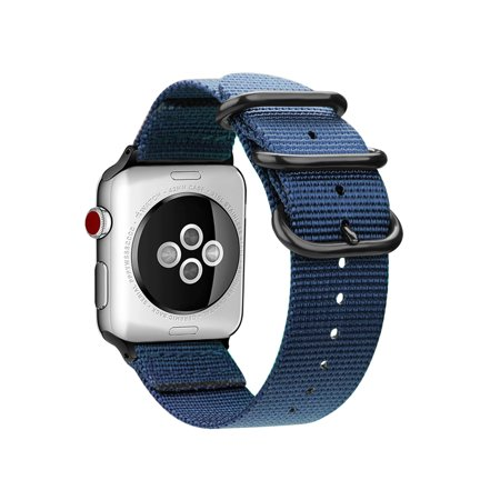 For Apple Watch 4 44mm Band Fintie Woven Nylon Bands Adjustable Sport Strap with Metal Buckle Watch Series 4, Navy