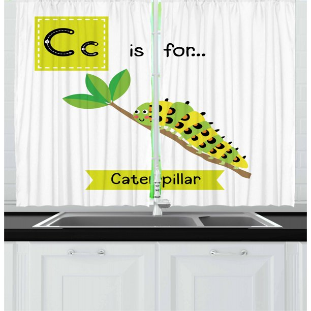 Caterpillar Curtains 2 Panels Set Children Zoo Alphabet Design With Caterpillar On A Branch Educational Window Drapes For Living Room Bedroom 55w X 39l Inches Green Apple Green By Ambesonne Walmart Com