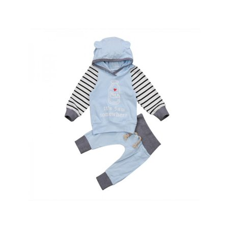 Lavaport Kid Unisex Cotton Striped Hoodies + Shorts Children Clothing Set Lavaport Kid Unisex Cotton Striped Hoodies + Shorts Children Clothing SetMaterial: CottonPattern Type: StripeColor: As the pictureSleeve: Long SleeveSize: Asia size S/M/L/XL/XL,for baby girl 0-2 YearsSize chartSIZE----Bust---Lenght--Pants Length--Advice70-----27.5CM---31CM-------38CM------0-6M80-----28.5CM---33CM-------40CM------6-12M90-----29.5CM---35CM-------42CM------12-18M100----30.5CM---37CM-------44CM------18-24MPackage included1* Kid Hoodie SetNotes:1.Please allow 2-3cm error due to manual measurement.2.Due to the difference light between the different displays, the color may be a little difference, Thanks for your understandings.