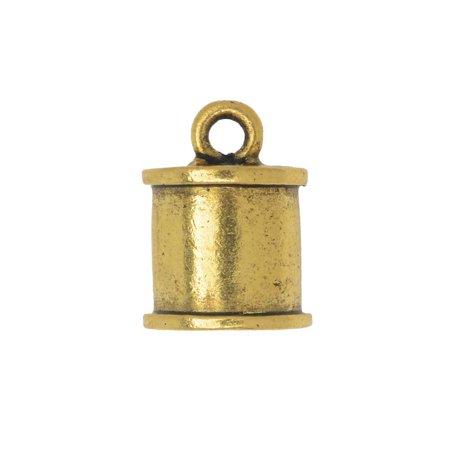 Nunn Design Cord End, Channel Barrel 14mm, 1 Piece, Antiqued Gold