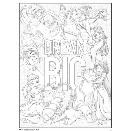 Disney Princesses Dream Big Movie Coloring Poster 18x24