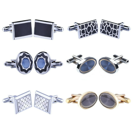Cufflink 12 Pairs Two Tone Classy Stylish Men's Cuff Links Elegant Gift - Heart White Cufflinks