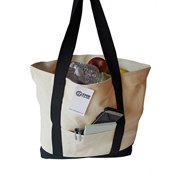 "ImpecGear Shoulder Bag 22"" Deluxe Heavy Duty Zippered Cotton Canvas Tote Bag (PACK OF 1, Black)"