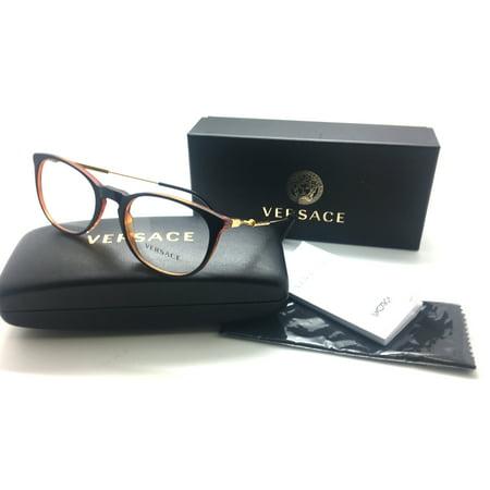 - Versace Eyeglasses VE 3227 138 Black/Transparent Orange, Size 51-20-140