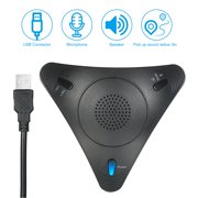 USB Conference Computer Microphone VOIP Omnidirectional Desktop Wired Microphone Built-in Speaker Support Control Mute Function Plug & Play for PC Laptop Office Meeting Video Conference Recording Cha