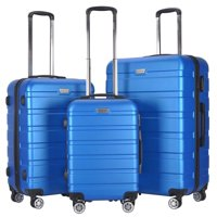 ABS Trolley Suitcase Spinner Hardshell 3-Piece Luggage Travel Set (Blue)