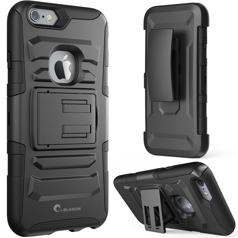 i-Blason-iPhone 6S Plus-Prime Series Dual Layer Holster Case-Black