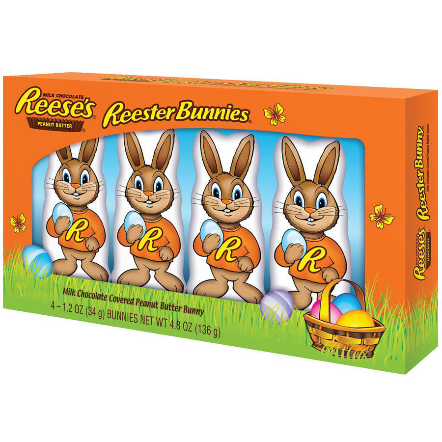 REESE'S REESTER BUNNIES Easter Peanut Butter Candy, 4 Count, 4.8 Ounces
