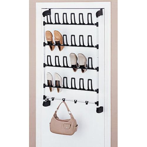 Neu Home Over-the-Door 12 Pair Shoe Rack w/ Hooks