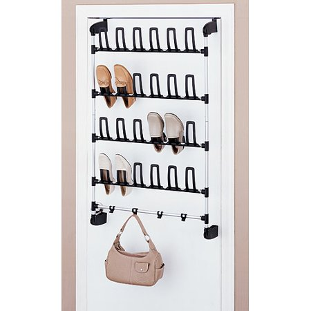 Neu Home Over-the-Door 12 Pair Shoe Rack w/ Hooks