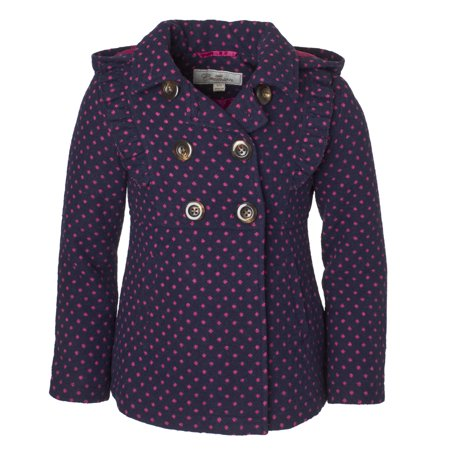 Cremson Girls' Wool Blend Hooded Ruffle Winter Dress Pea Coat Jacket - Navy Dots (Size 7/8)