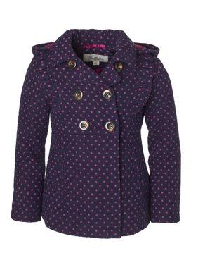 3204e65e97 Product Image Cremson Girls  Wool Blend Hooded Ruffle Winter Dress Pea Coat  Jacket - Navy Dots (