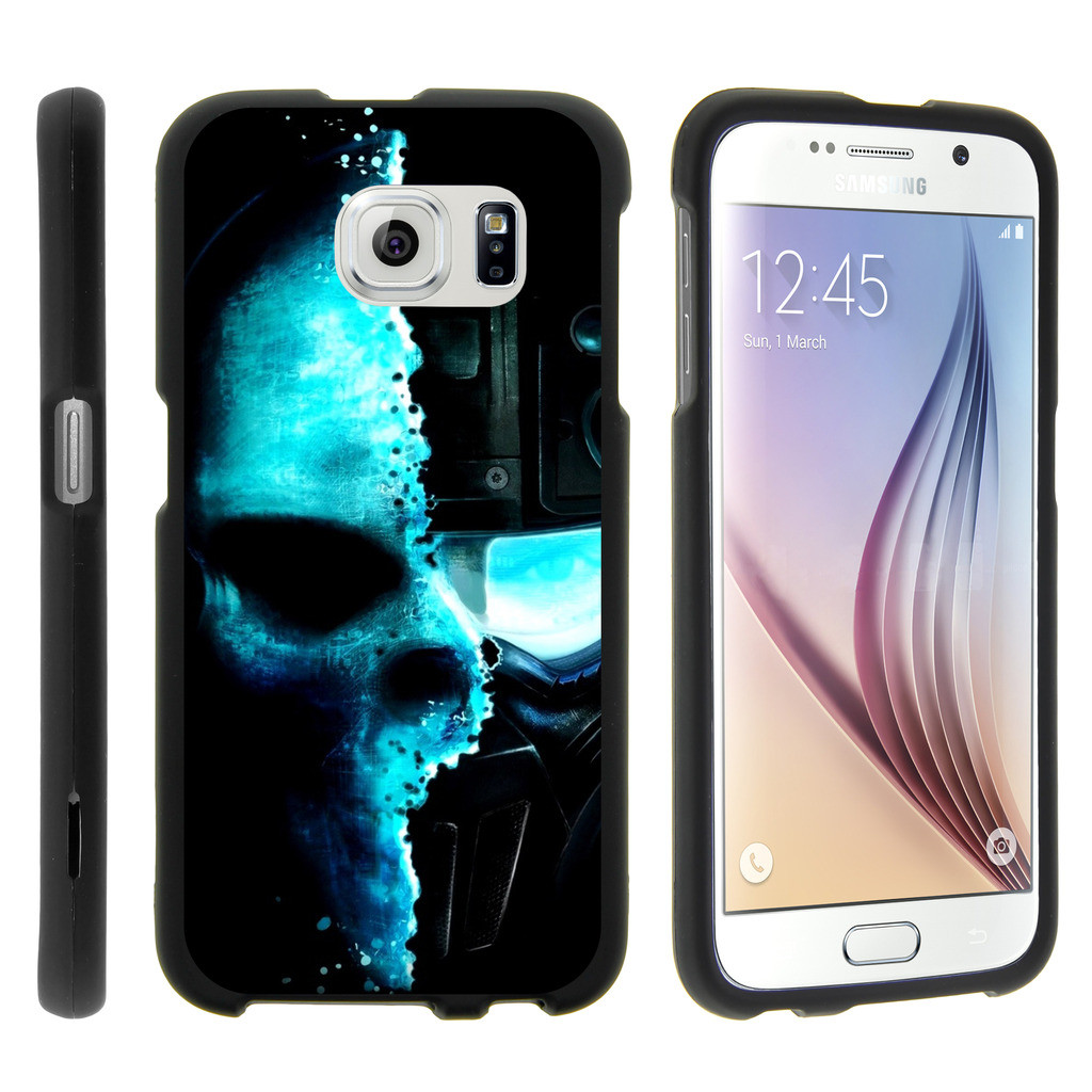 Samsung Galaxy S6 Edge G925, [SNAP SHELL][Matte Black] Snap On Hard Plastic Protector with Non Slip Coating with Unique Designs - Demon Cyborg