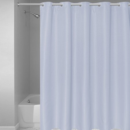 EZ ON Waffle Weave Fabric Shower Curtain With Snap Off Liner 70x75