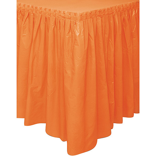 Plastic Table Skirt, 14 ft, Orange, 1ct