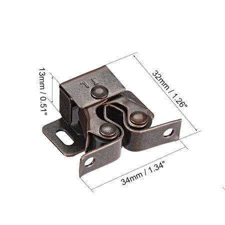 Cabinet Door Double Roller Catch Ball Latch with Prong Coppper Tone 5pcs - image 3 of 4