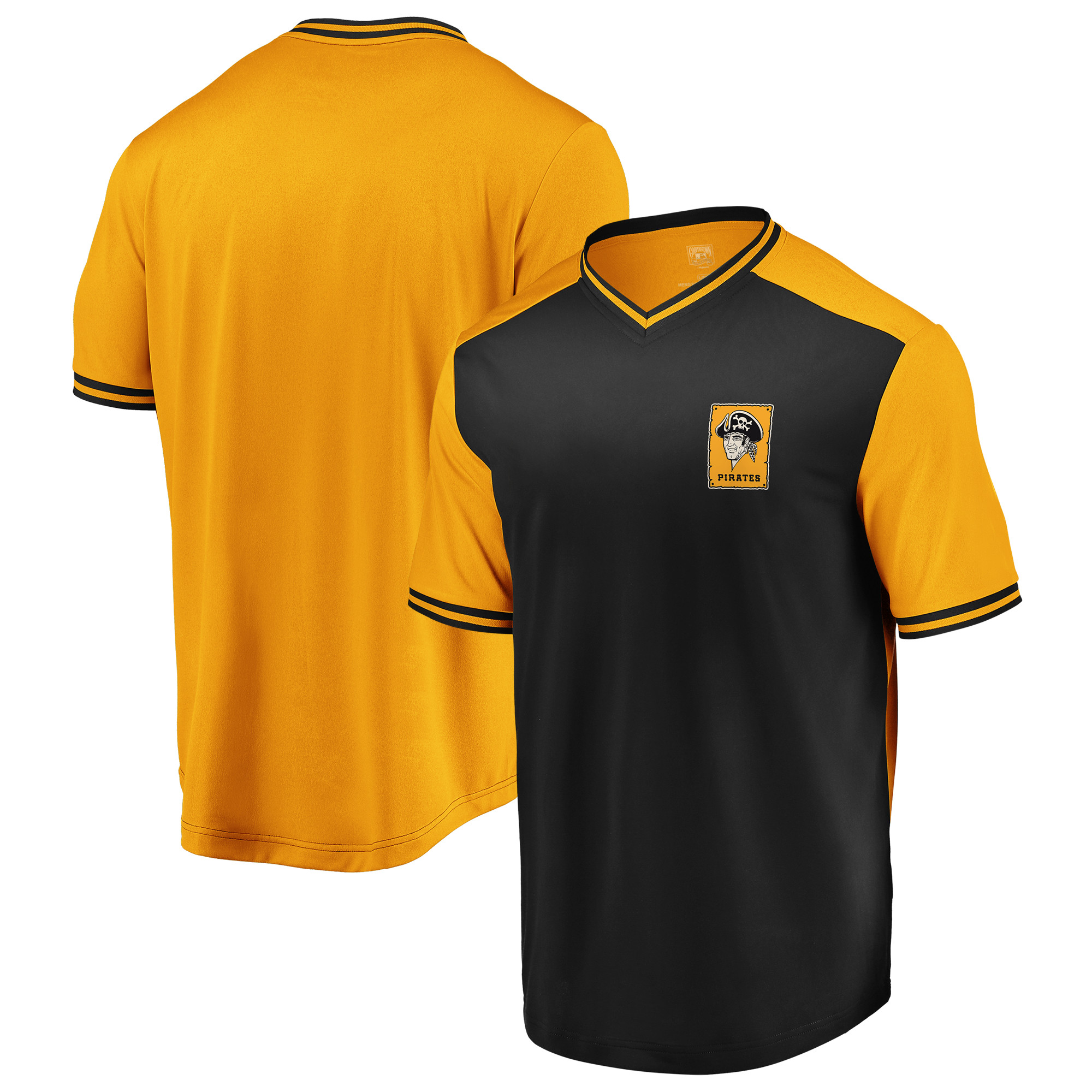 Pittsburgh Pirates Majestic Good Graces Cooperstown Collection V-Neck T-Shirt - Black/Gold
