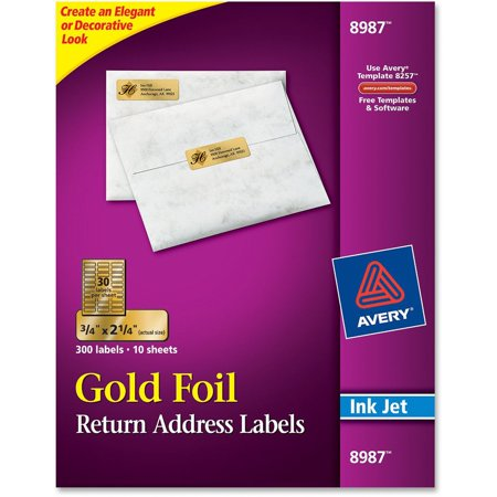 Avery Foil Mailing Labels 34 X 2 14 Gold 300pack Walmart