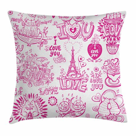 Doodle Throw Pillow Cushion Cover, I Love You Valenties Design Hugging Touching Singing Hearts Coffee Expressing Affection, Decorative Square Accent Pillow Case, 16 X 16 Inches, Pink, by