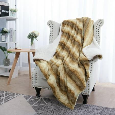 (Gradient Striped Warm Shaggy Plush Faux Fur Throw Blanket, 50