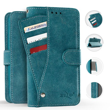 Zizo Slide Many Pockets PU Leather Wallet Case Cover Pouch iPhone 8 / 7 / 7 (Best Leather Iphone 7 Case)