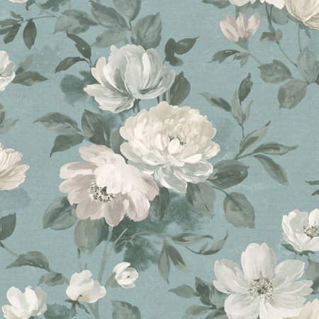 Wall Vision Peony Slate Floral Wallpaper