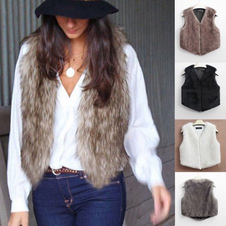 HOT Women Waistcoat Faux Fur Long Plush Vest Jacket Coat Winter Warm - Fur Coat Halloween