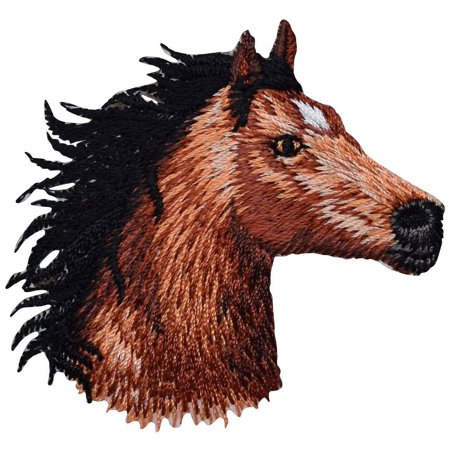 Horse Head - Facing Right - Iron On Applique/ Embroidered