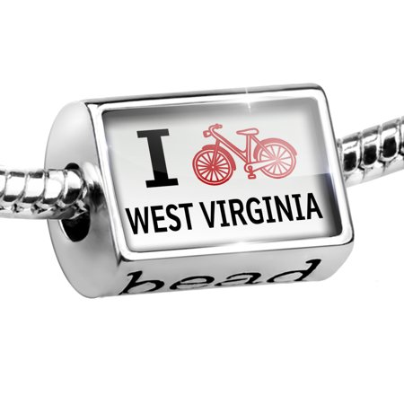 Bead I Love Cycling State West Virginia Charm Fits All European Bracelets