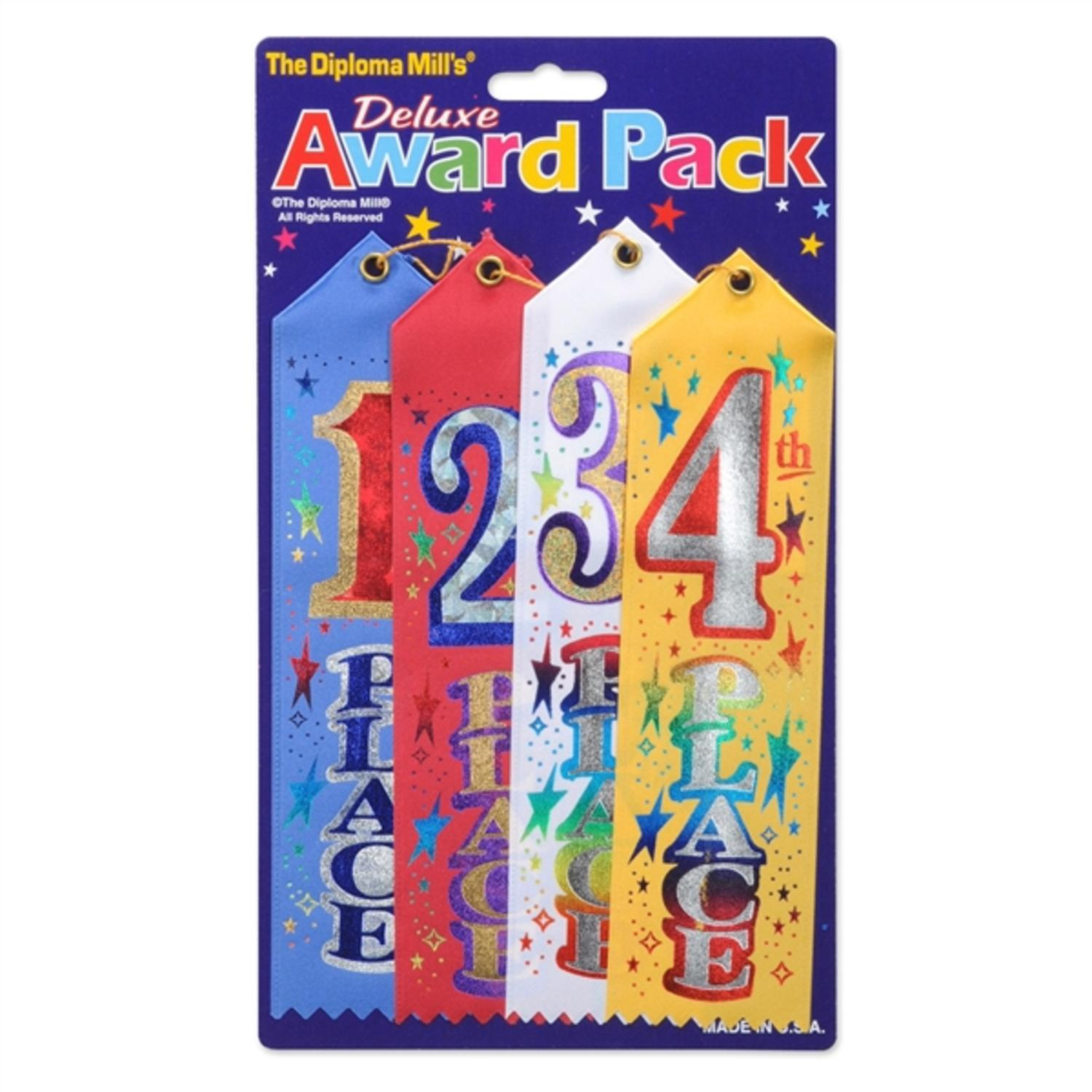 Club Pack of 24 Deluxe 1st, 2nd, 3rd and 4th Place Award School and Sports Ribbons 8""