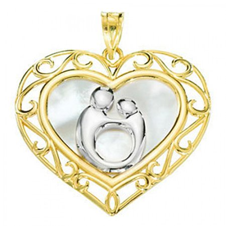 42ce06ee795a1 10K Rhodium Flashed Yellow Gold Mother & Child Heart Charm Pendant - 25MM