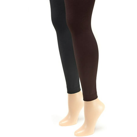 8506acd6e1a Muk Luks - Women s Fleece Lined 2-Pair Pack Footless Tights - Walmart.com