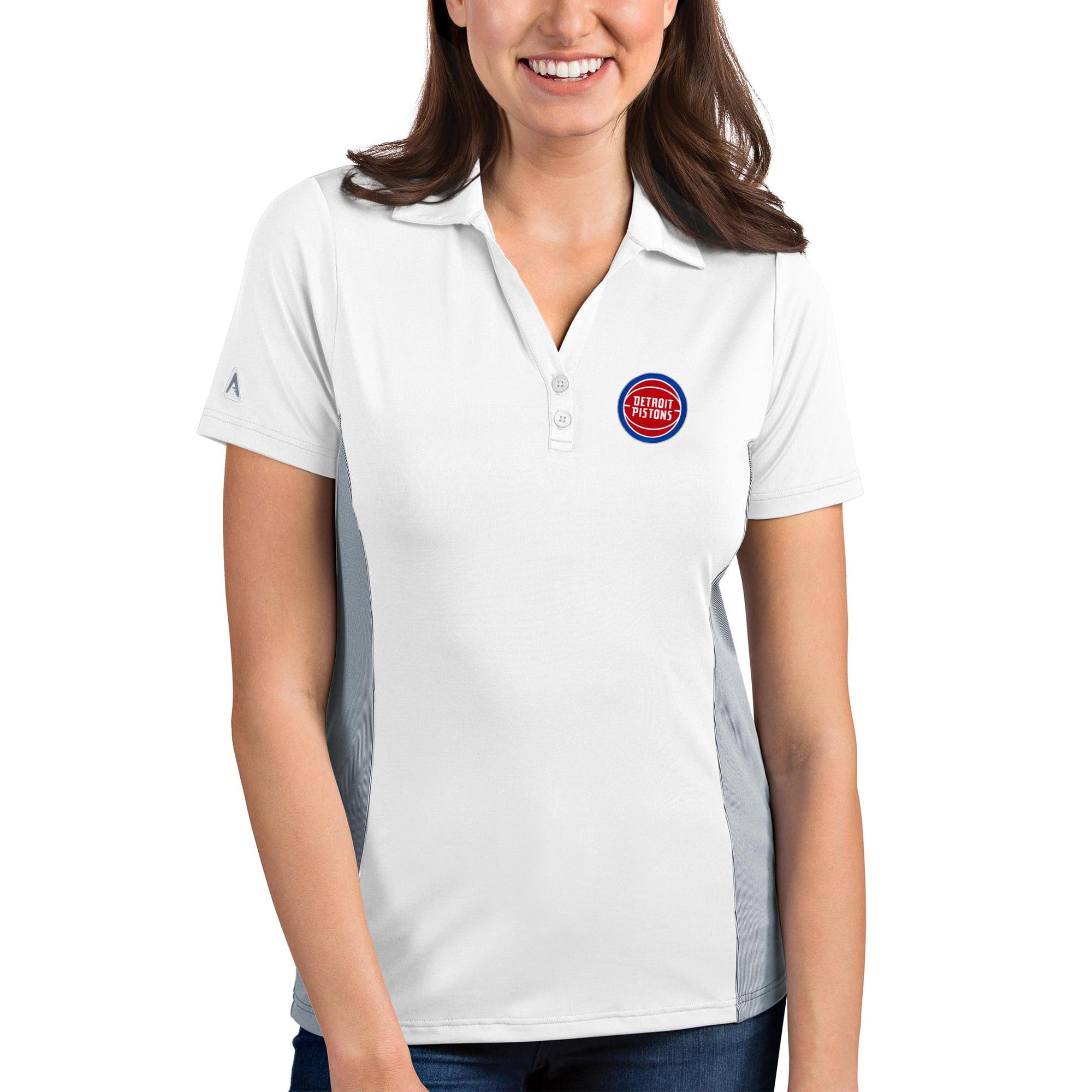 Detroit Pistons Antigua Women's Venture Polo - White/Gray