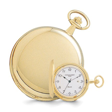 - Lex & Lu Charles Hubert 14k Gold Finish White Dial with Date Pocket Watch XWA618