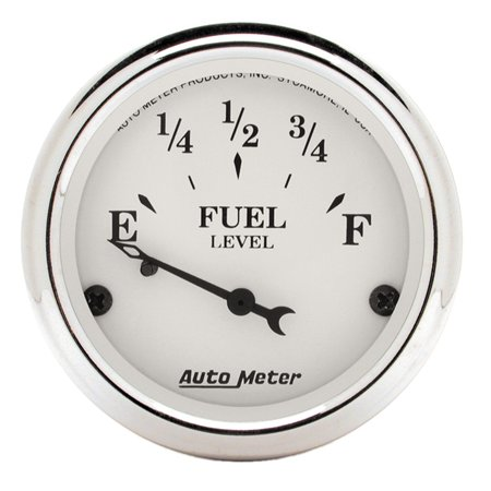 AutoMeter 1605 Old Tyme White Fuel Level Gauge; 2-1/16 in.; White Dial Face; Black Pointer; White Incandescent Lighting; Electric Air-Core; 73 Ohms Empty /10 Ohms Full [NON-LINEAR]; Custom Car Face Gauges