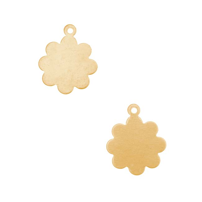 Solid Brass Blank Stamping Mod Flower Charms 13mm (2)