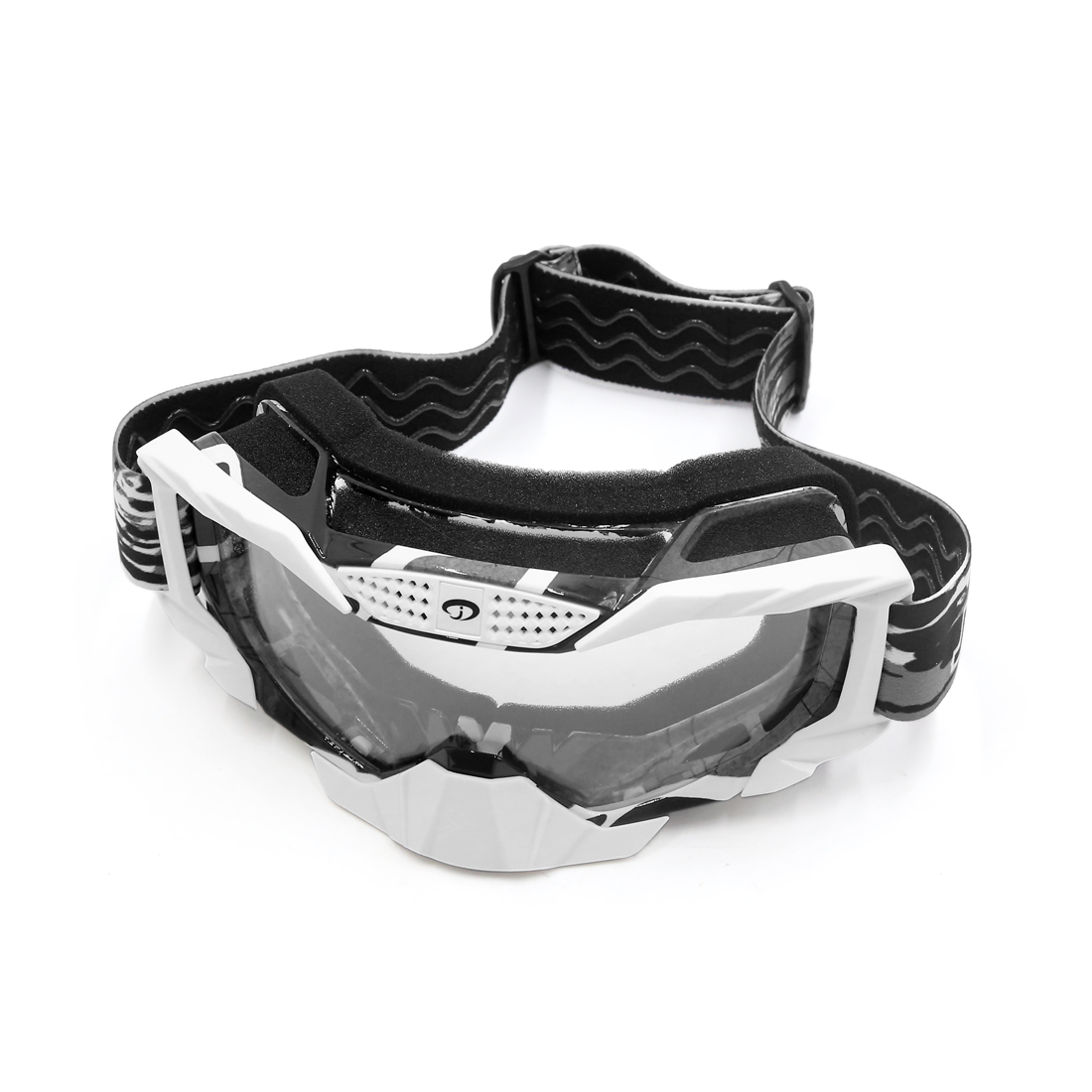Gray Frame White Lens Windproof Dustproof Motorcycle Motocross Outdoor Goggles