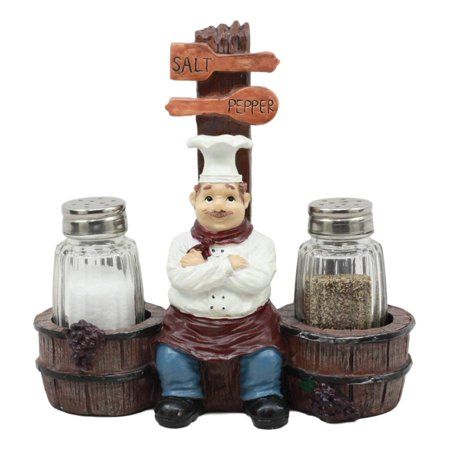 Ebros Bon Apetit Le Cordon Bleu Master Chef Sitting By Wooden Barrels Salt And Pepper Shakers Holder Figurine Set 6.5