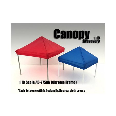 Canopy Accessory Blue and Red with 1 Chrome Frame 1:18 Scale by American Diorama - image 1 de 1