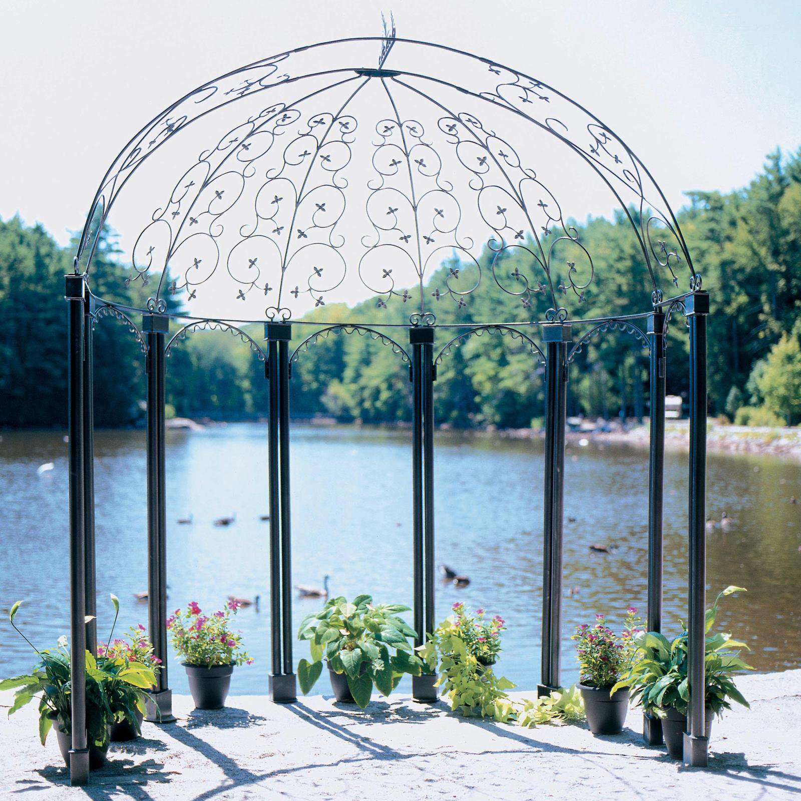 achla designs euphony 75 x 5 ft wrought iron pavilion gazebo achla designs wrought iron